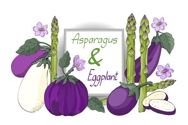 Set di verdure vettoriale. melanzane bianche, viola e viola con foglie e fiori, asparagi verdi freschi (sparrowgrass). Vettore Premium