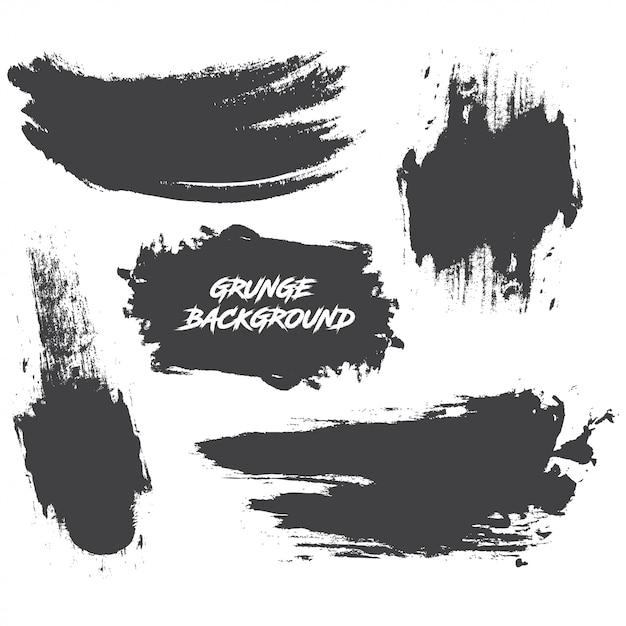 Set di vernice nera, pennellate di inchiostro, pennelli, linee Vettore Premium