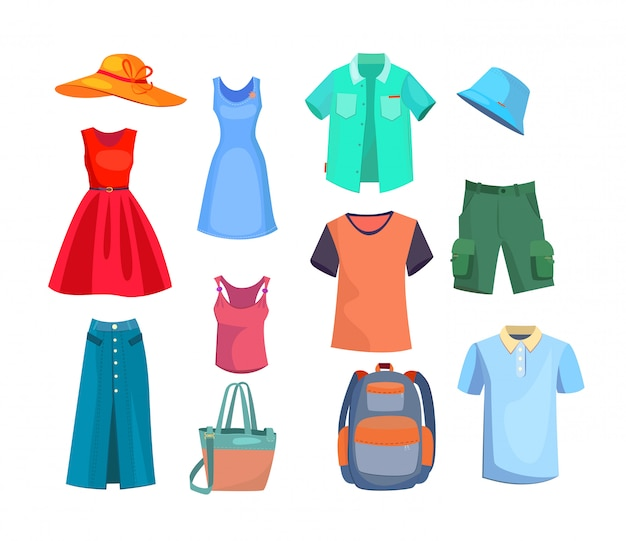 Set di vestiti estivi Vettore gratuito