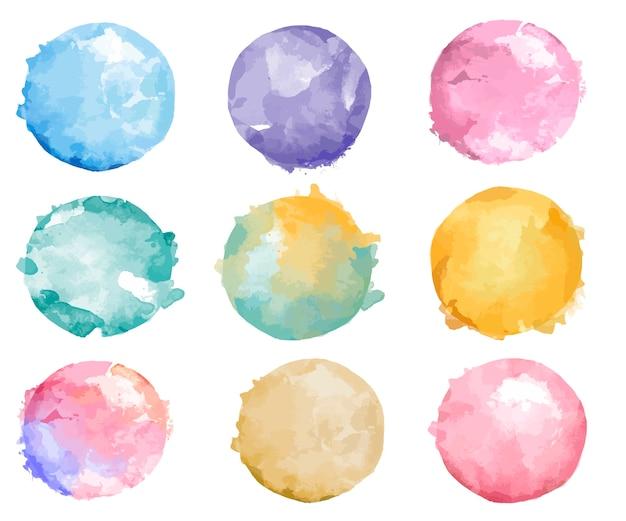 Set di vettore colorato distintivo dell'acquerello Vettore gratuito