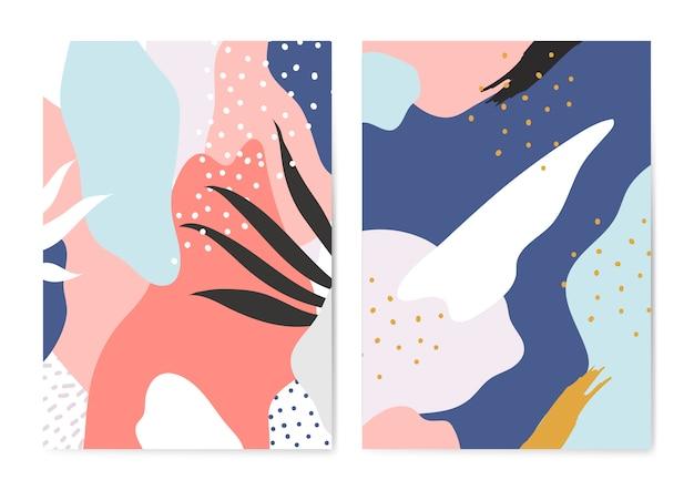 Set di vettore colorato sfondi stile memphis Vettore gratuito