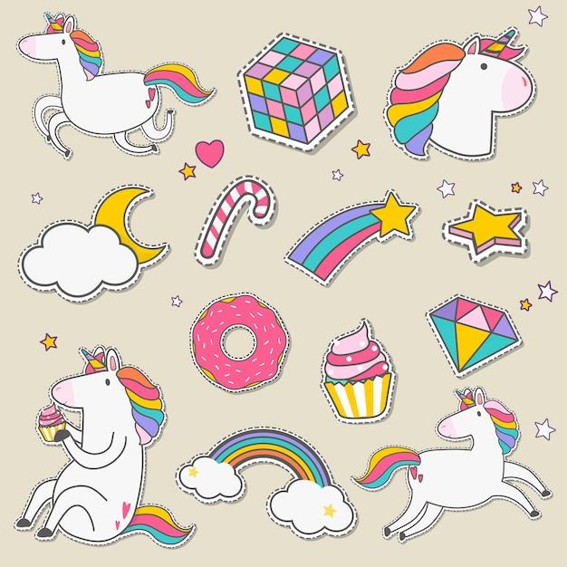 Set di vettore di adesivi unicorno Vettore gratuito
