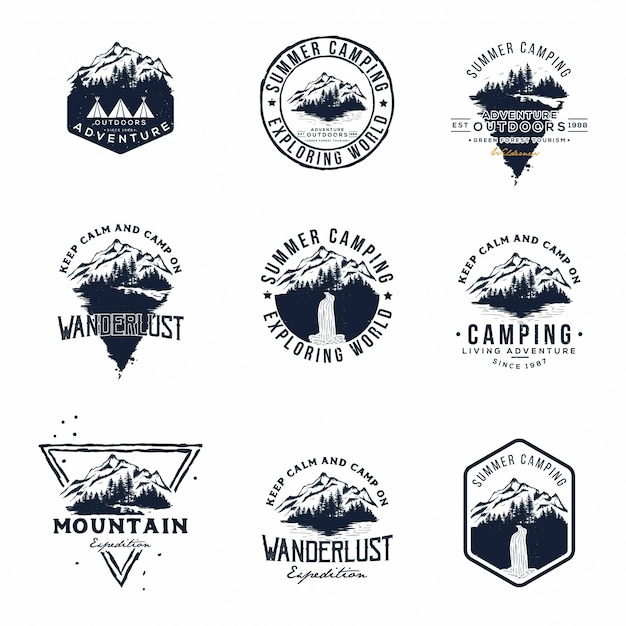 Set di vettore di montagna e logo di avventure all'aria aperta Vettore Premium