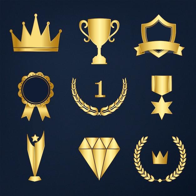 Set di vettore di premi e distintivi Vettore gratuito
