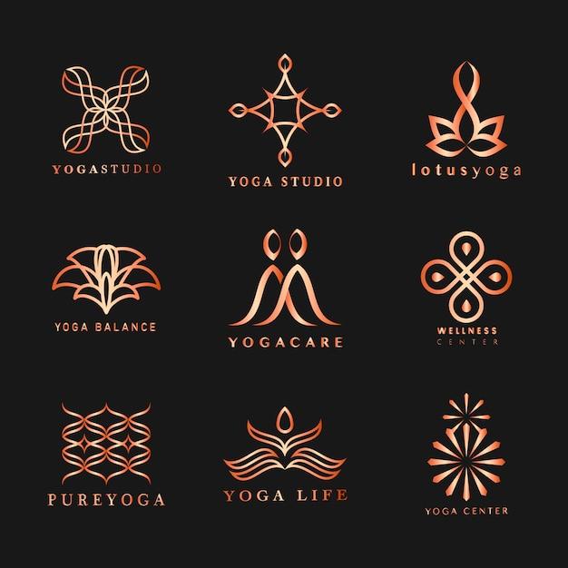 Set di vettore logo yoga Vettore gratuito