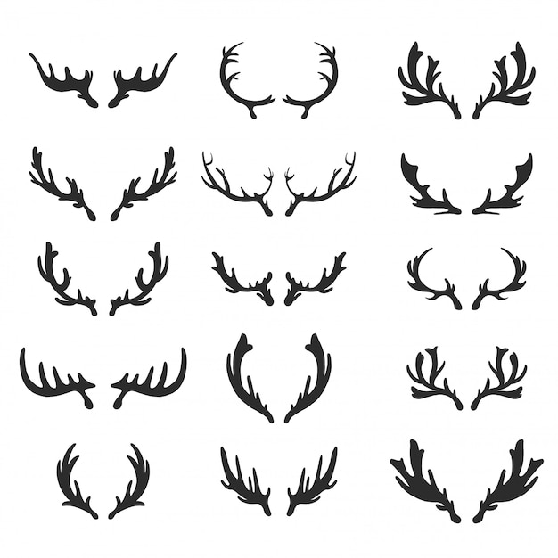 Set di vettori di corna di cervo disegnati a mano. Vettore Premium