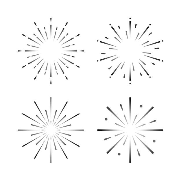 Set di vettori di esplosione di fuochi d'artificio Vettore gratuito