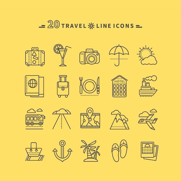 Set di viaggio nero sottile, linee, icone di contorno Vettore Premium