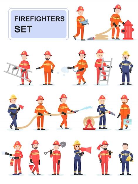 Set di vigili del fuoco facendo il loro lavoro. Vettore Premium