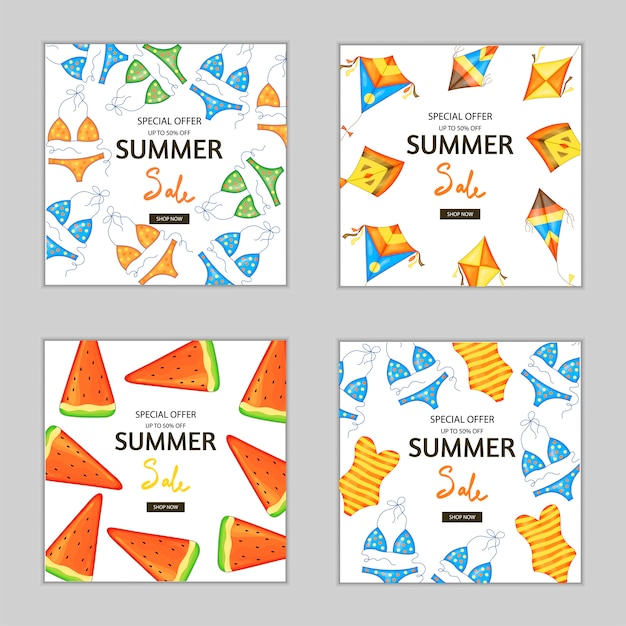 Set di volantini estivi e volantini per pubblicità e sconti Vettore Premium