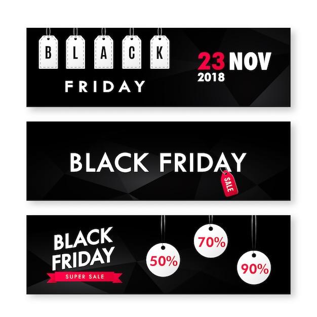 Set di volantini vendita venerdì nero. Vettore Premium