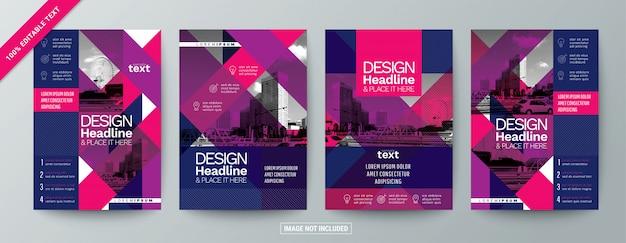 Set di volantino opuscolo commerciale moderno con testo modificabile Vettore Premium