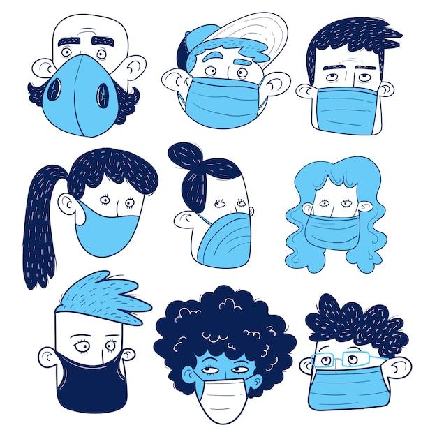 Set di volti di persone con maschere. disegno a mano. Vettore Premium