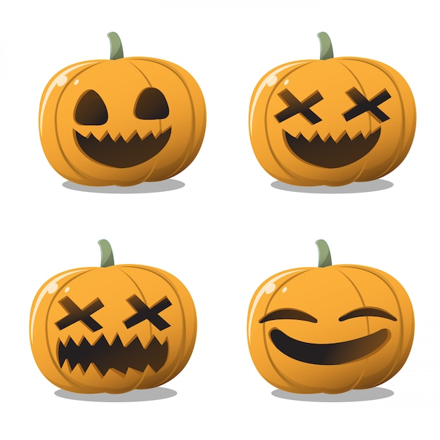 Set di zucca di halloween. Vettore Premium