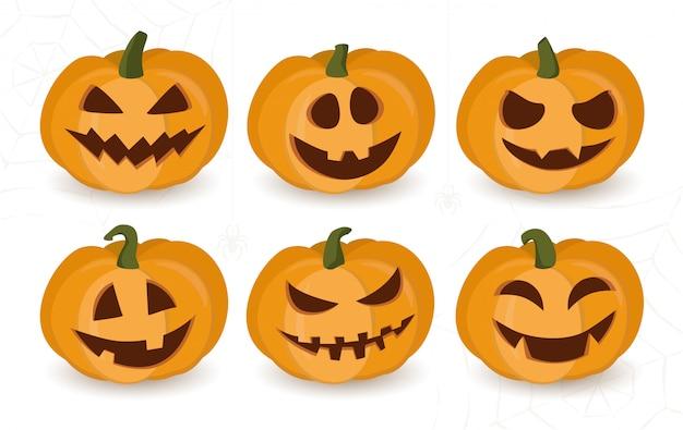 Facce Zucche Di Halloween.Set Di Zucche Di Halloween Con Facce Buffe O Spaventose Scaricare