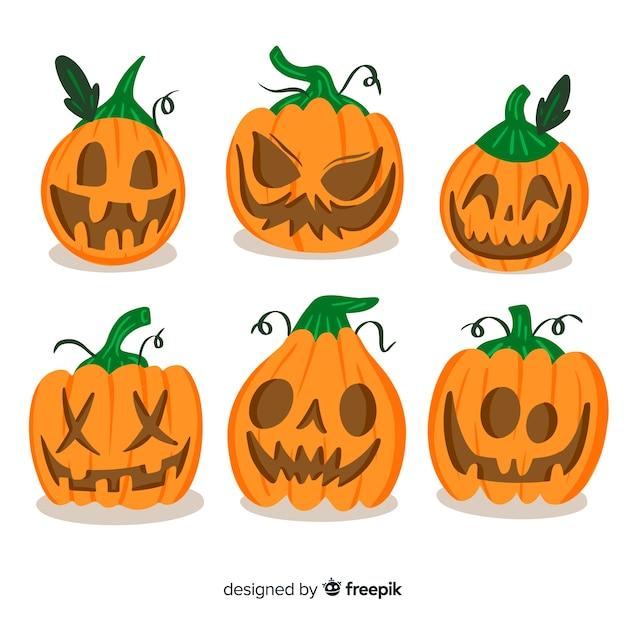 Set di zucche spaventose di halloween Vettore gratuito