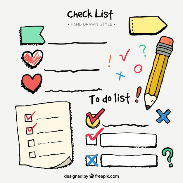 Set disegnata a mano di elementi checklist e decorativi Vettore gratuito