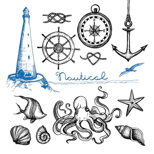 Set disegnato a mano nautico Vettore gratuito