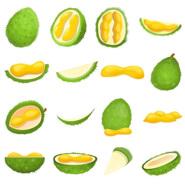 Set durian, stile cartone animato Vettore Premium