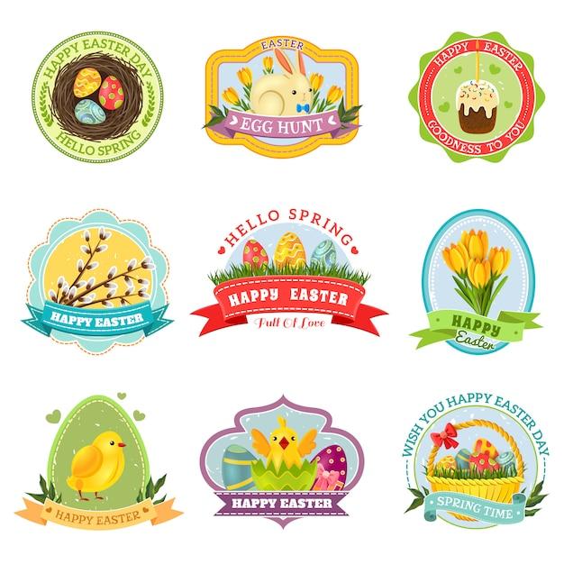 Set emblema di pasqua Vettore gratuito