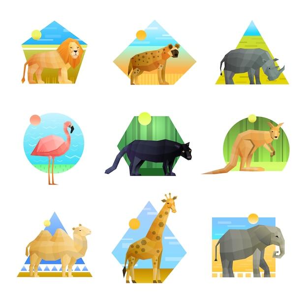 Set emblema poligonale animali Vettore gratuito
