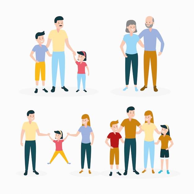 Set famiglia Vettore gratuito