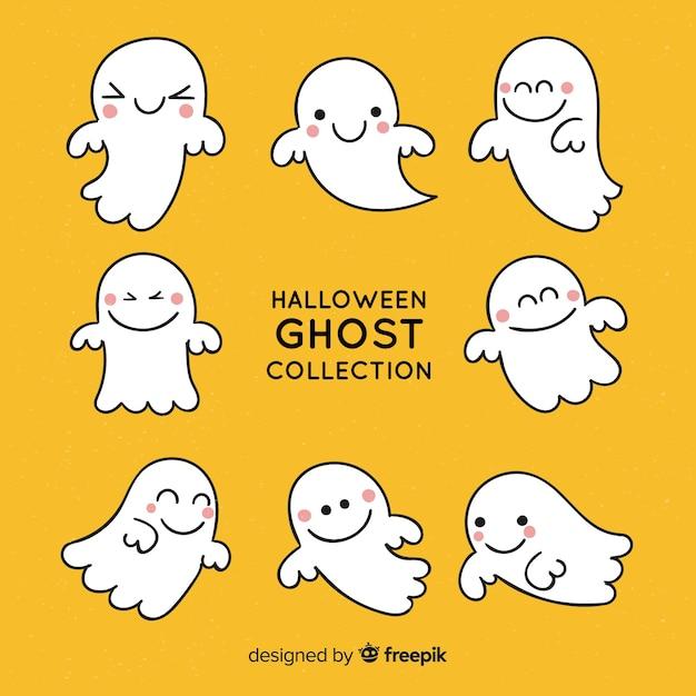 Set fantasma di halloween Vettore gratuito