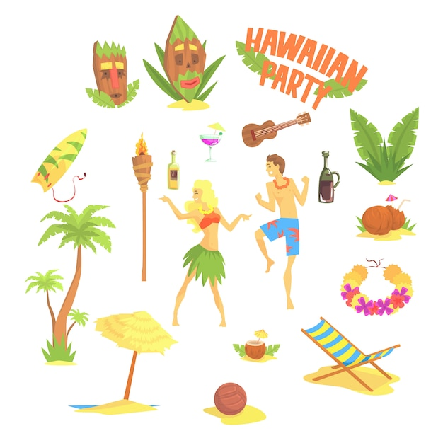 Set festa hawaiana, illustrazioni simboli hawaii Vettore Premium