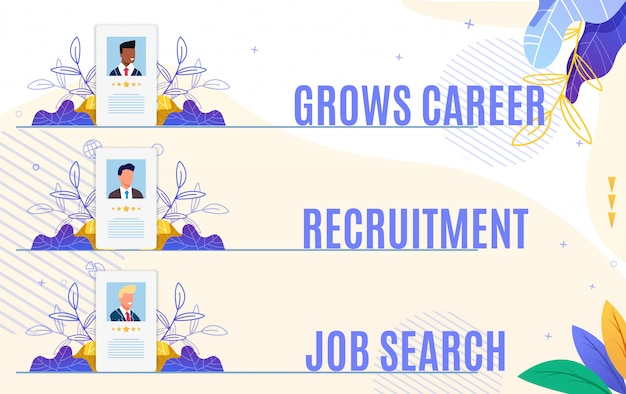 Set flyer cresce ricerca di lavoro di reclutamento di carriera. Vettore Premium