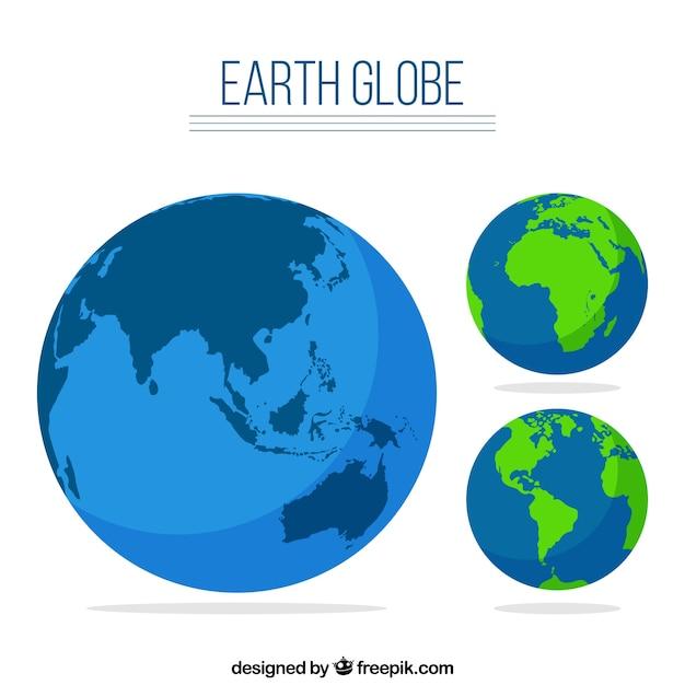 Set globo terrestre Vettore gratuito