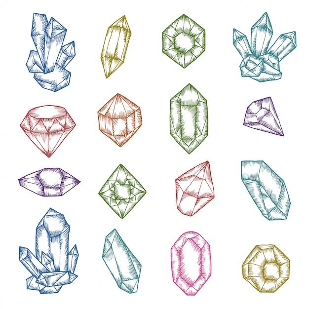 Set grafico cristalli disegnati a mano Vettore Premium