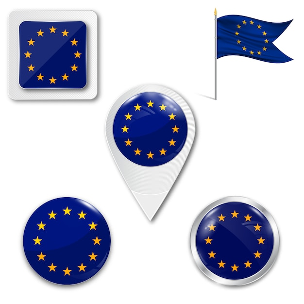 Set icone bandiera nazionale dell'unione europea Vettore Premium