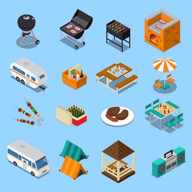 Set isometrica di pic-nic barbecue Vettore gratuito