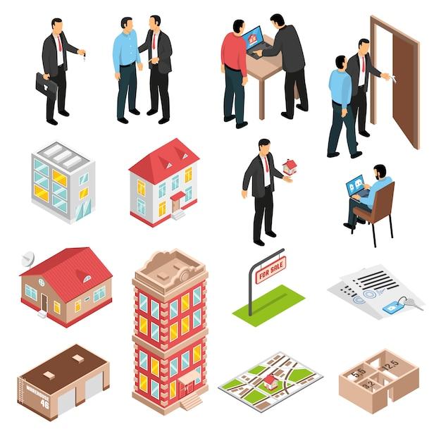 Set isometrico agenzia immobiliare Vettore gratuito