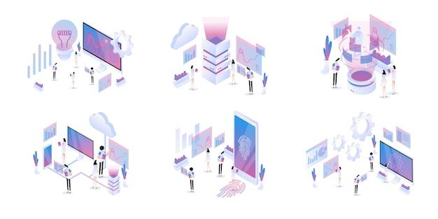 Set isometrico di big data Vettore Premium