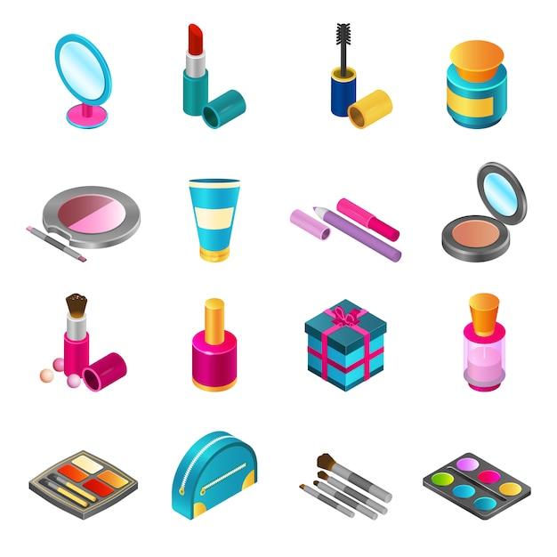 Set isometrico di cosmetici Vettore gratuito