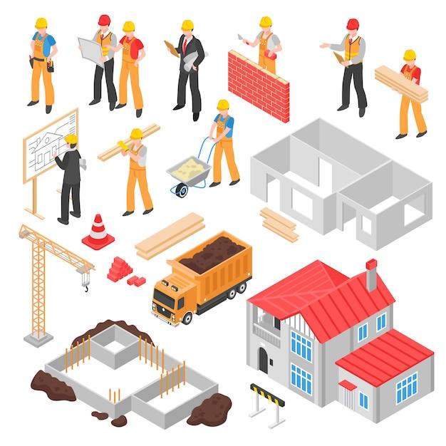Set isometrico di costruzione Vettore gratuito