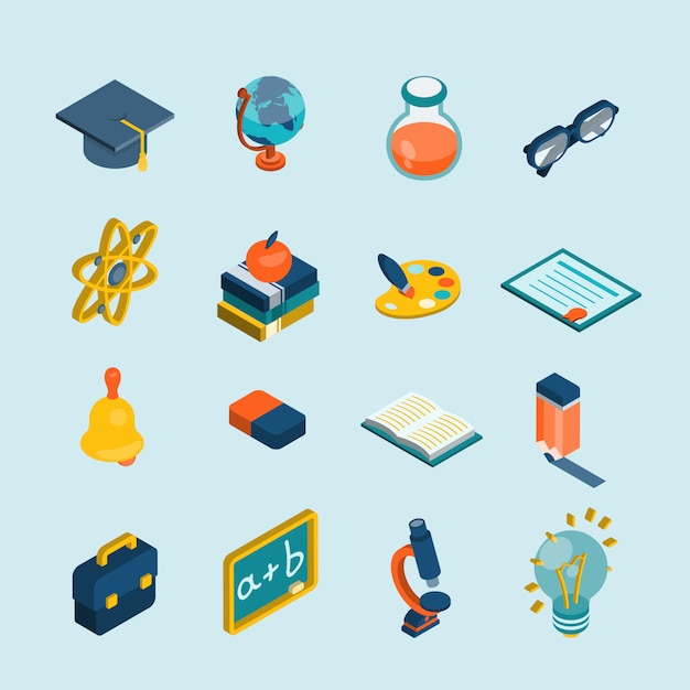 Set isometrico di educazione Vettore gratuito