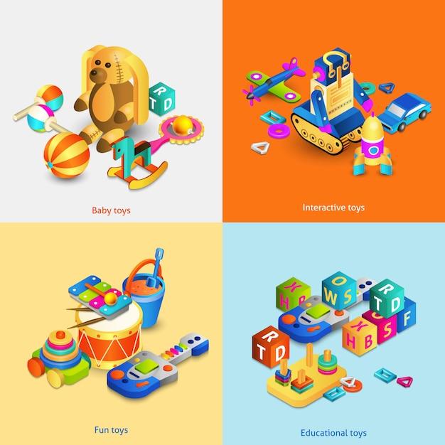 Set isometrico di giocattoli Vettore gratuito