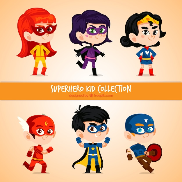 Set kid superhero Vettore gratuito