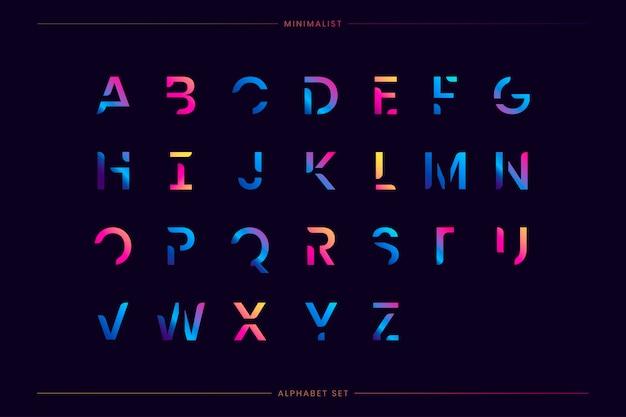 Set lettera futuristica alla moda Vettore gratuito