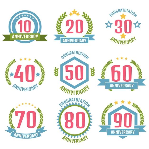 Set logo anniversario Vettore Premium