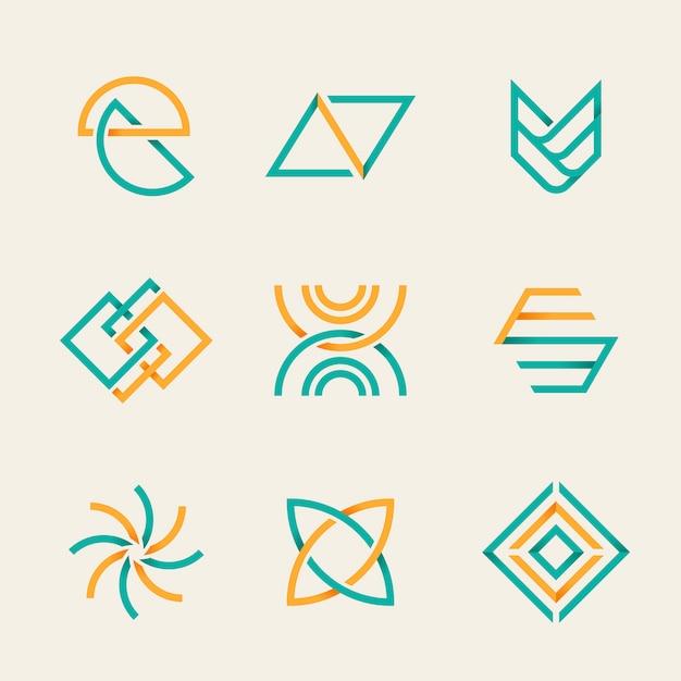 Set logo aziendale arancione Vettore gratuito