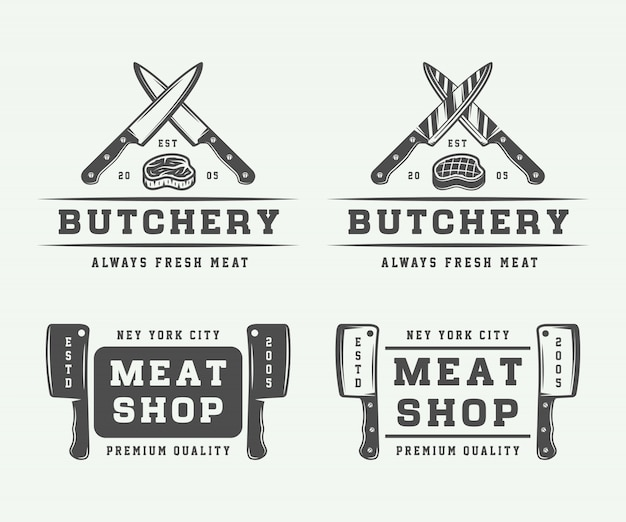 Set logo carne di macelleria Vettore Premium