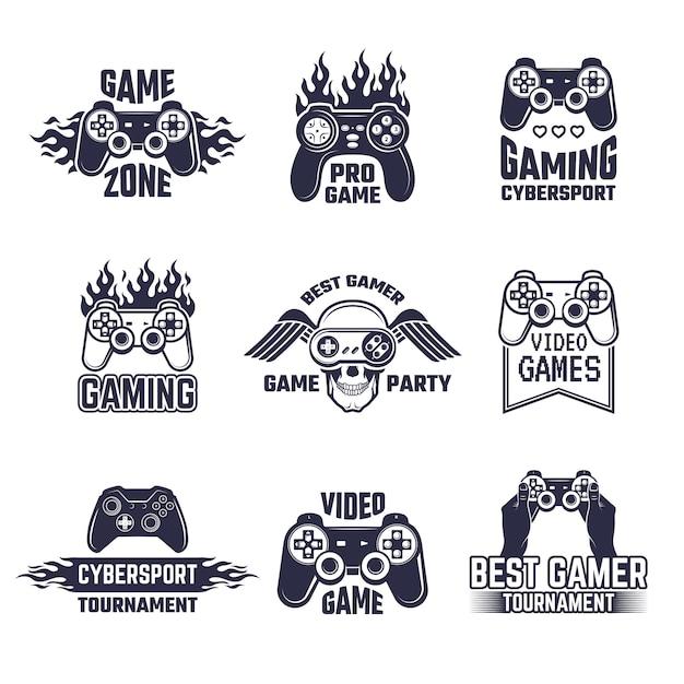 Set logo da gioco Vettore Premium