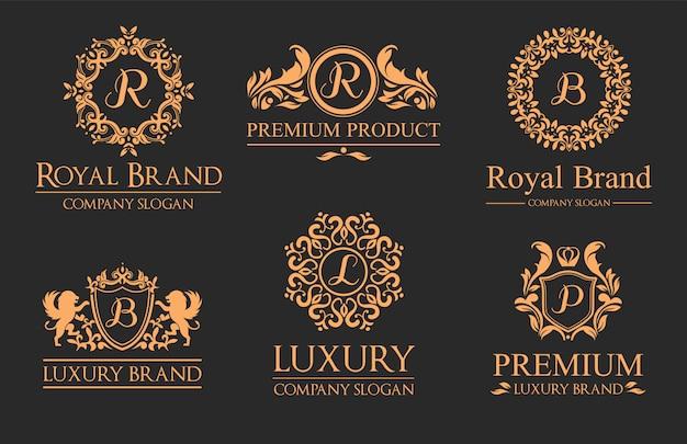 Set logo di lusso Vettore Premium