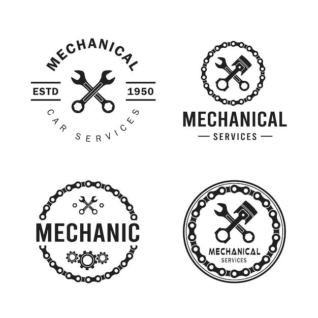Set logo meccanico, servizi, ingegneria, riparazione. Vettore Premium