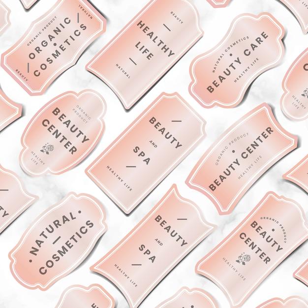 Set logo minimal rosa pastello Vettore gratuito