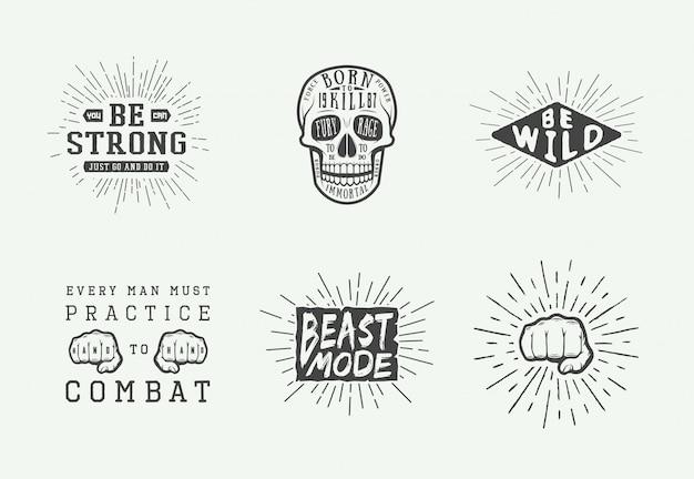 Set logo motivazionale Vettore Premium