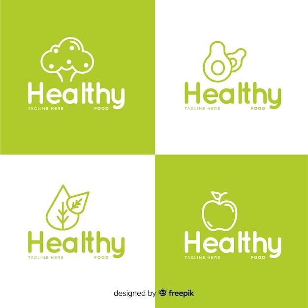 Set logo piatto cibo sano Vettore gratuito